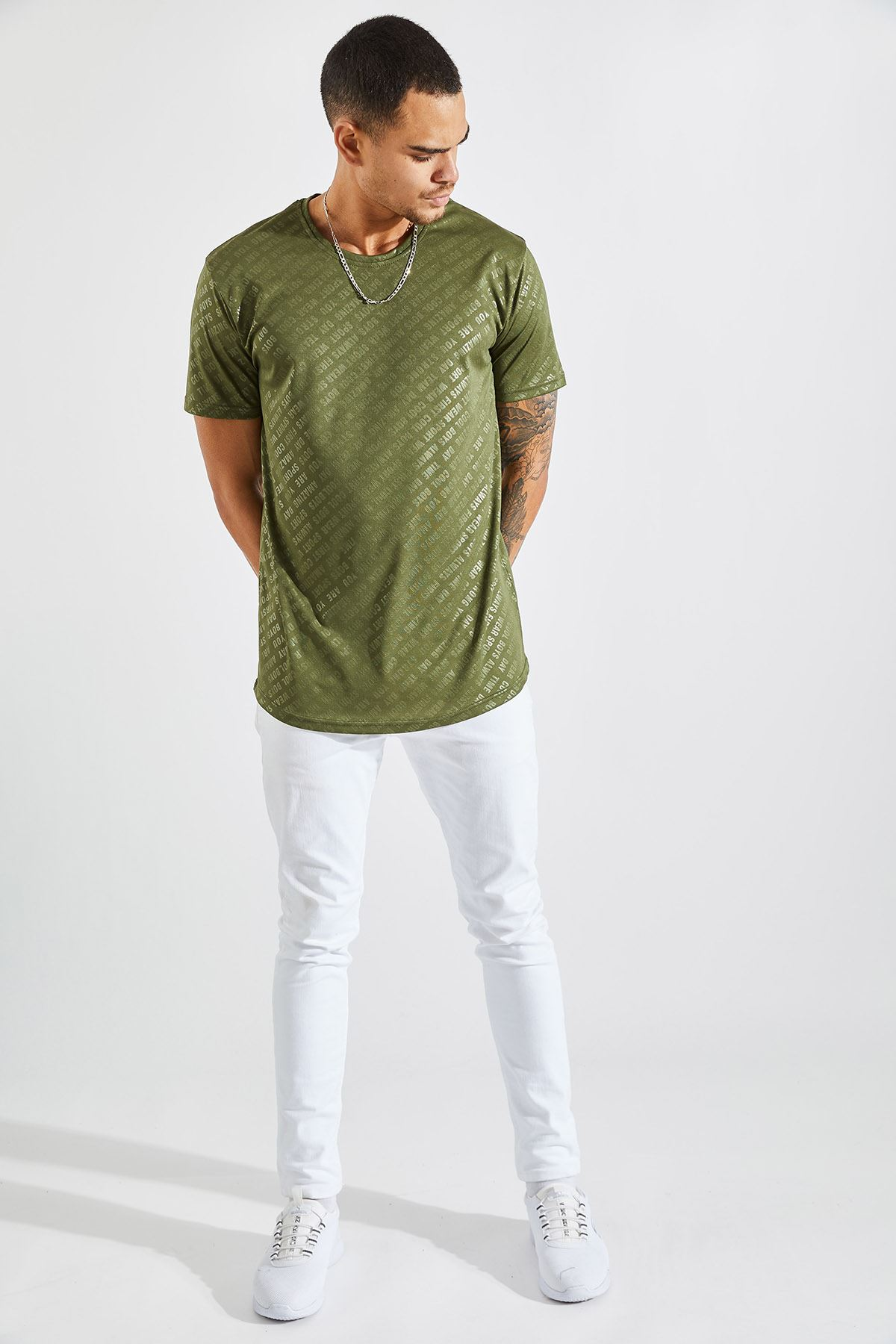 Erkek Baskılı Haki Tişört