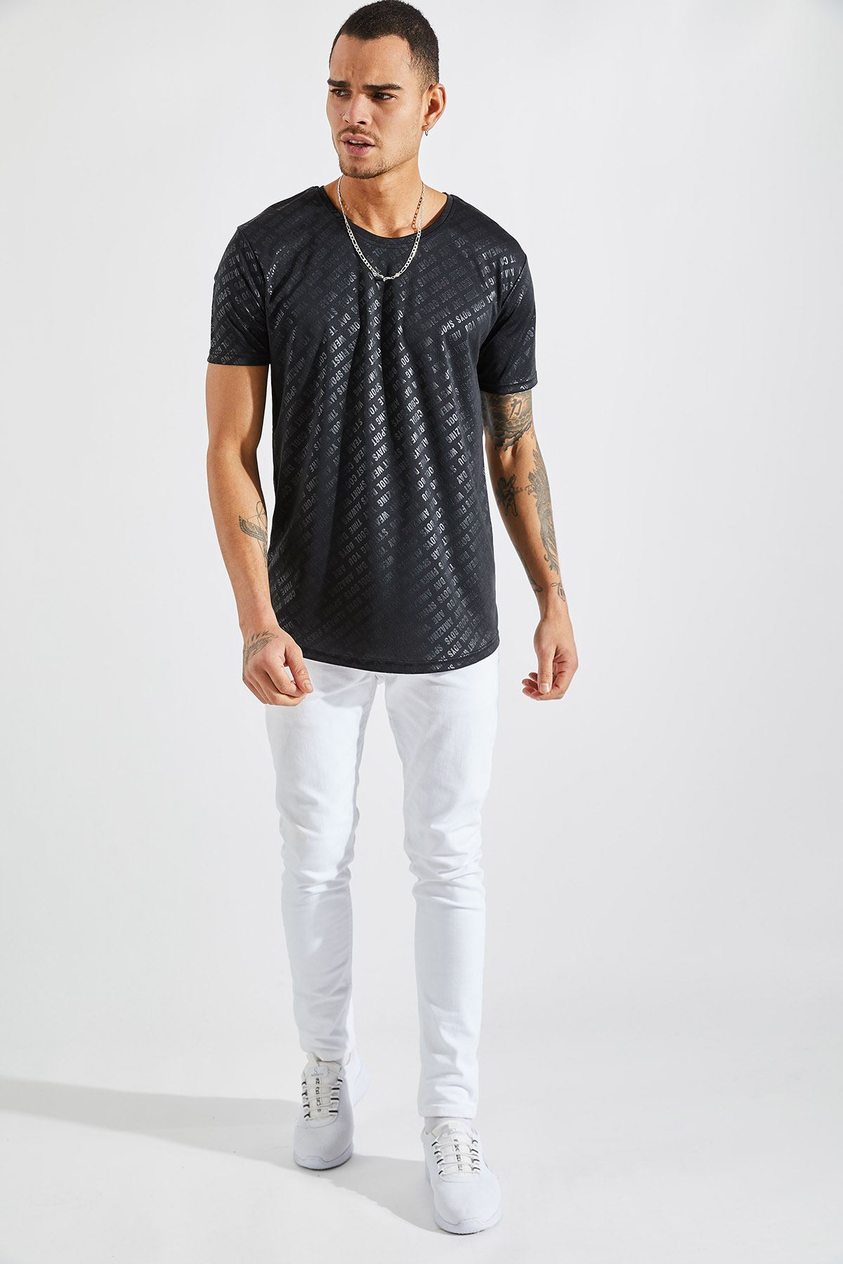 Erkek Baskılı Siyah Tişört