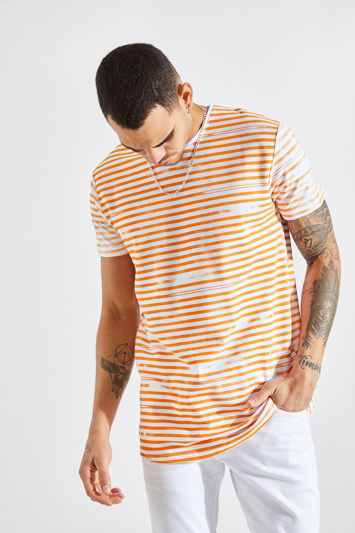 Erkek İnce Çizgili Turuncu Tişört