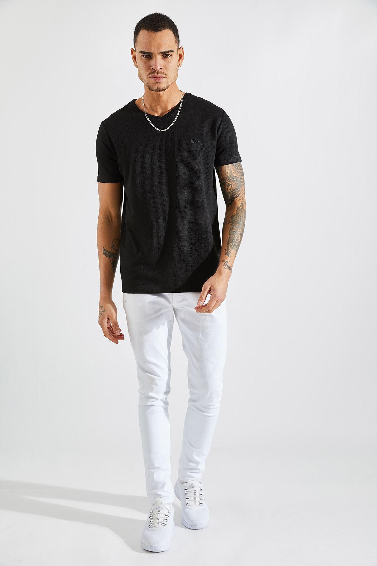 Erkek Poliviskon V Yaka Siyah Tişört