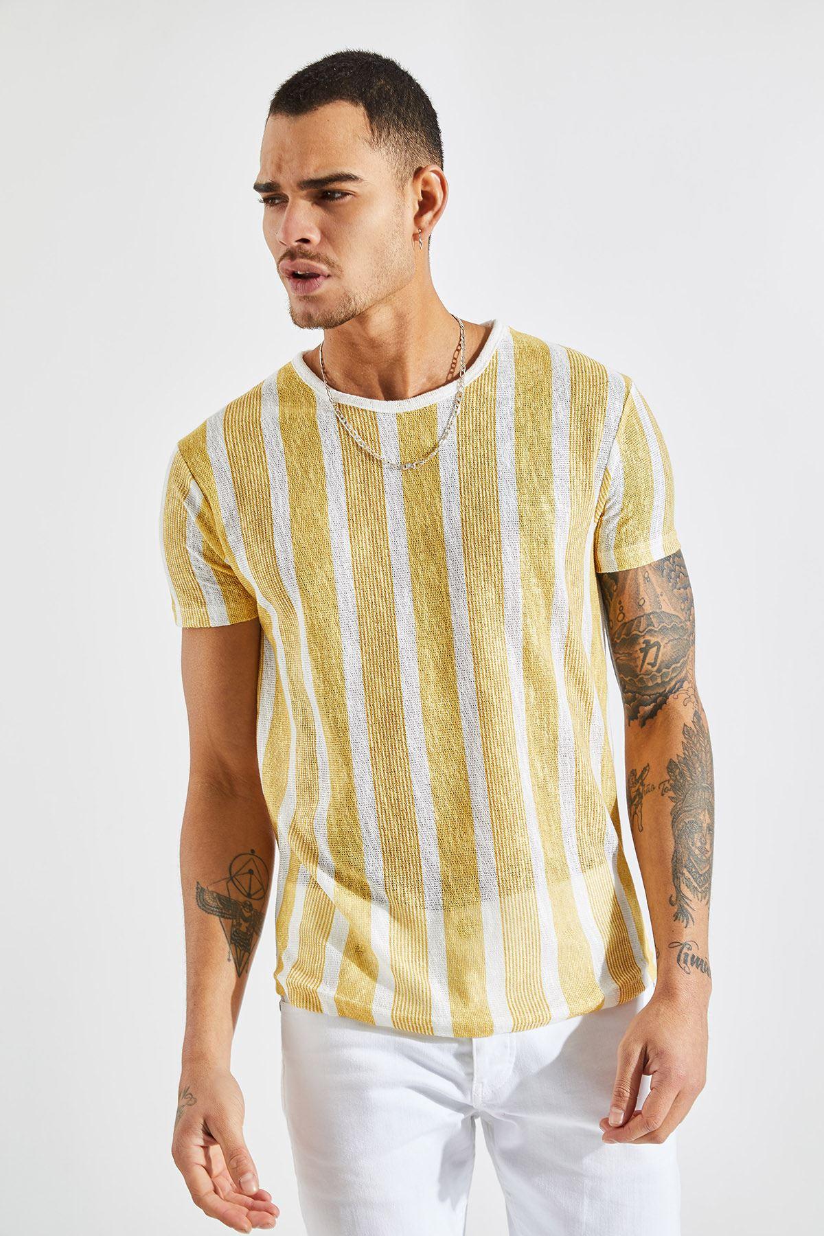 Erkek Kalın Çizgili Sarı Tişört