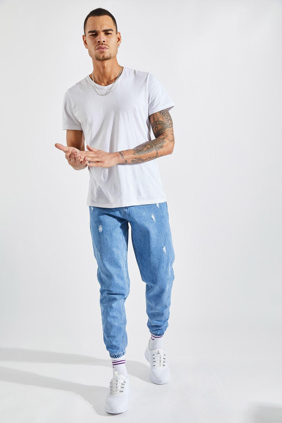 Erkek Boyfriend Paça Lastikli Lazer Tırnaklı Açık Mavi Pantolon