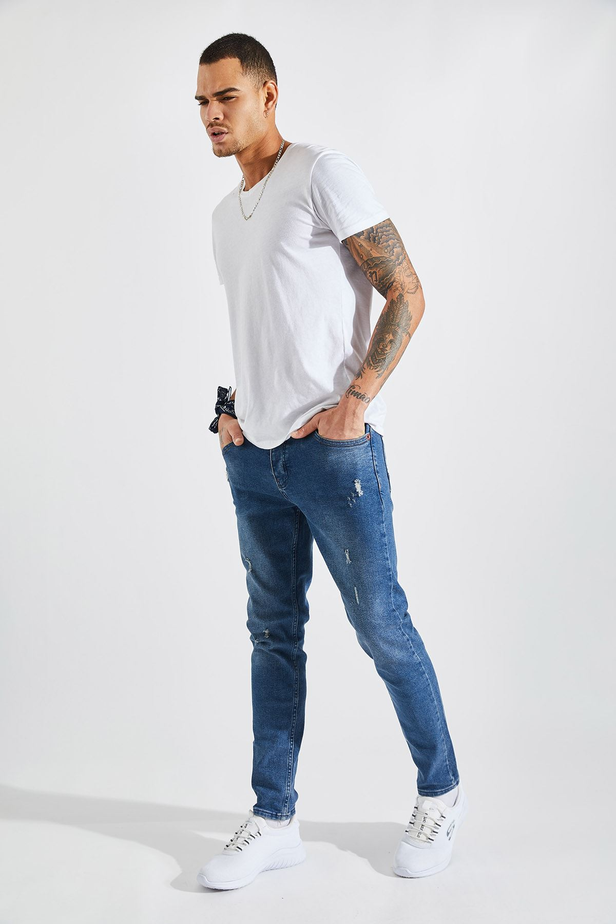 Erkek Likralı Lazer Tırnaklı Kahverengi Kot Pantolon