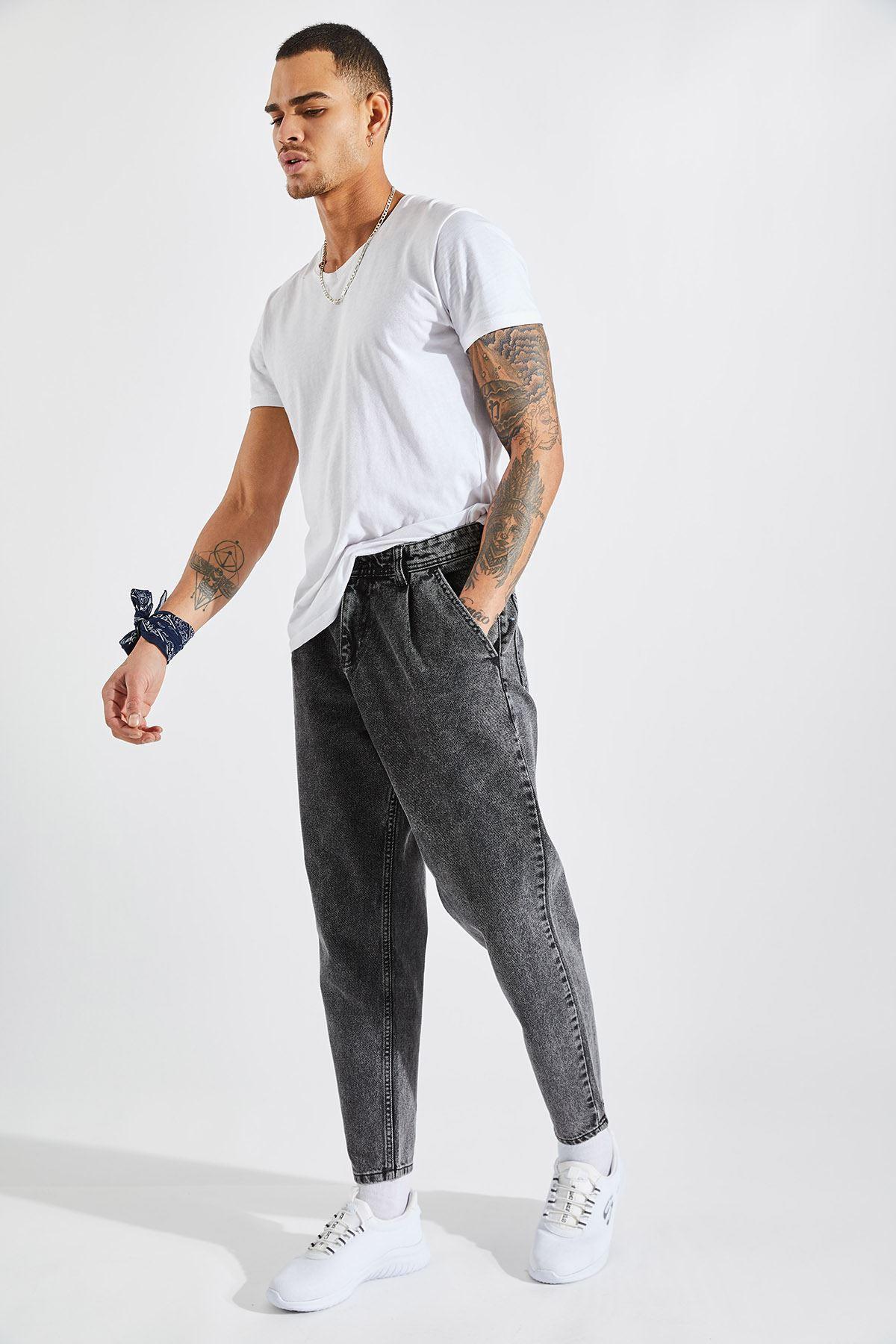 Erkek Pileli Boyfriend Kar Yıkama Kot Pantolon