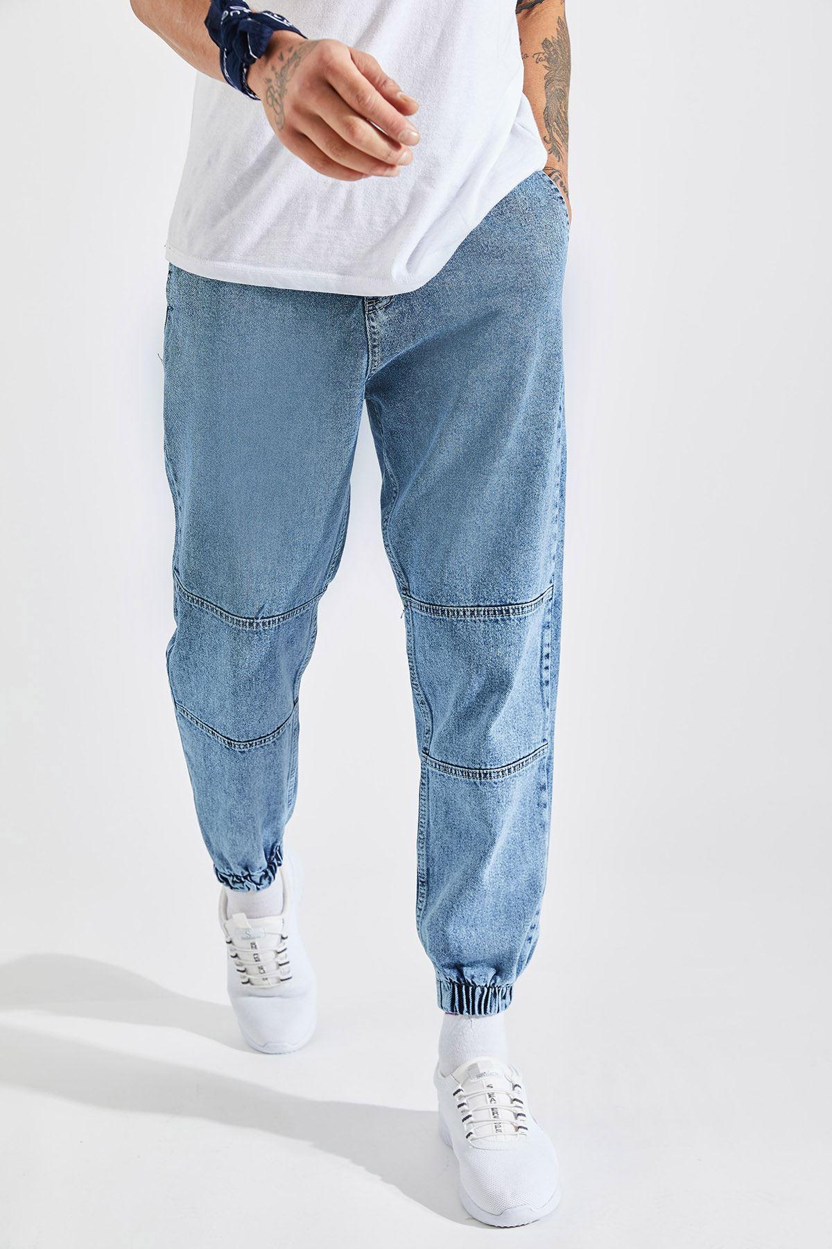 Erkek Paça Lastikli Kar Yıkama Kot Pantolon