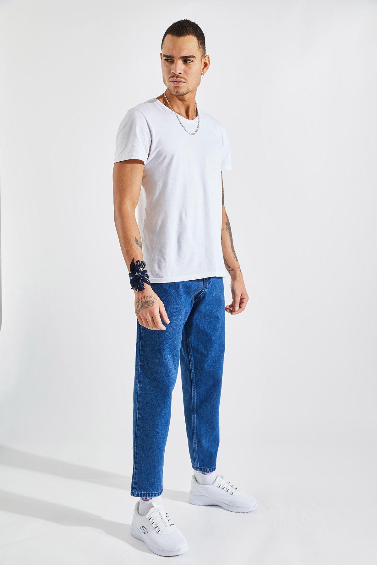 Erkek Boyfriend Açık Mavi Kot Pantolon