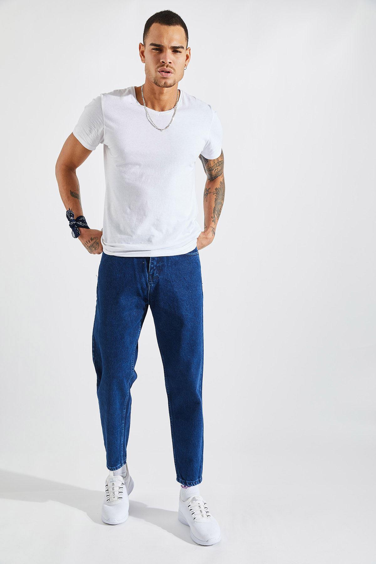 Erkek Boyfriend Mavi Kot Pantolon