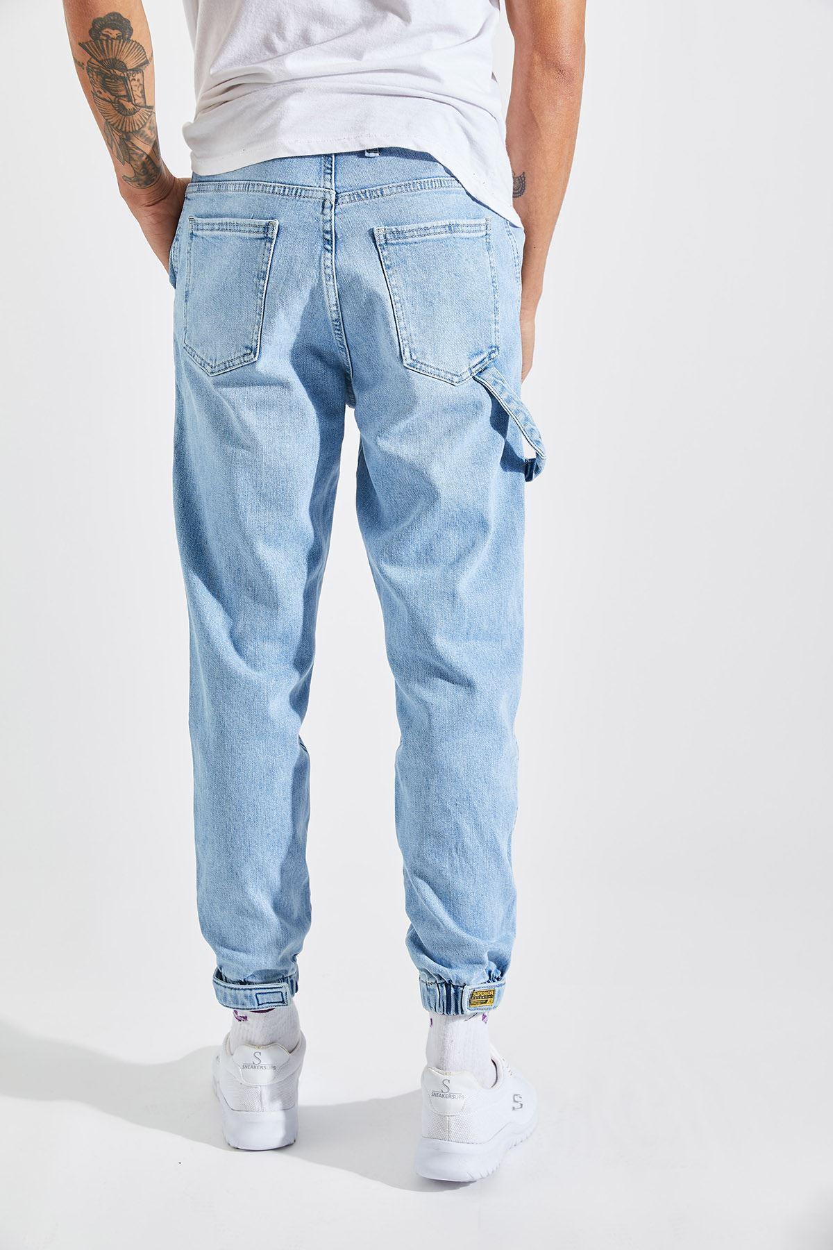 Erkek Lazer Tırnaklı Lastik Paça Mavi Kot Pantolon