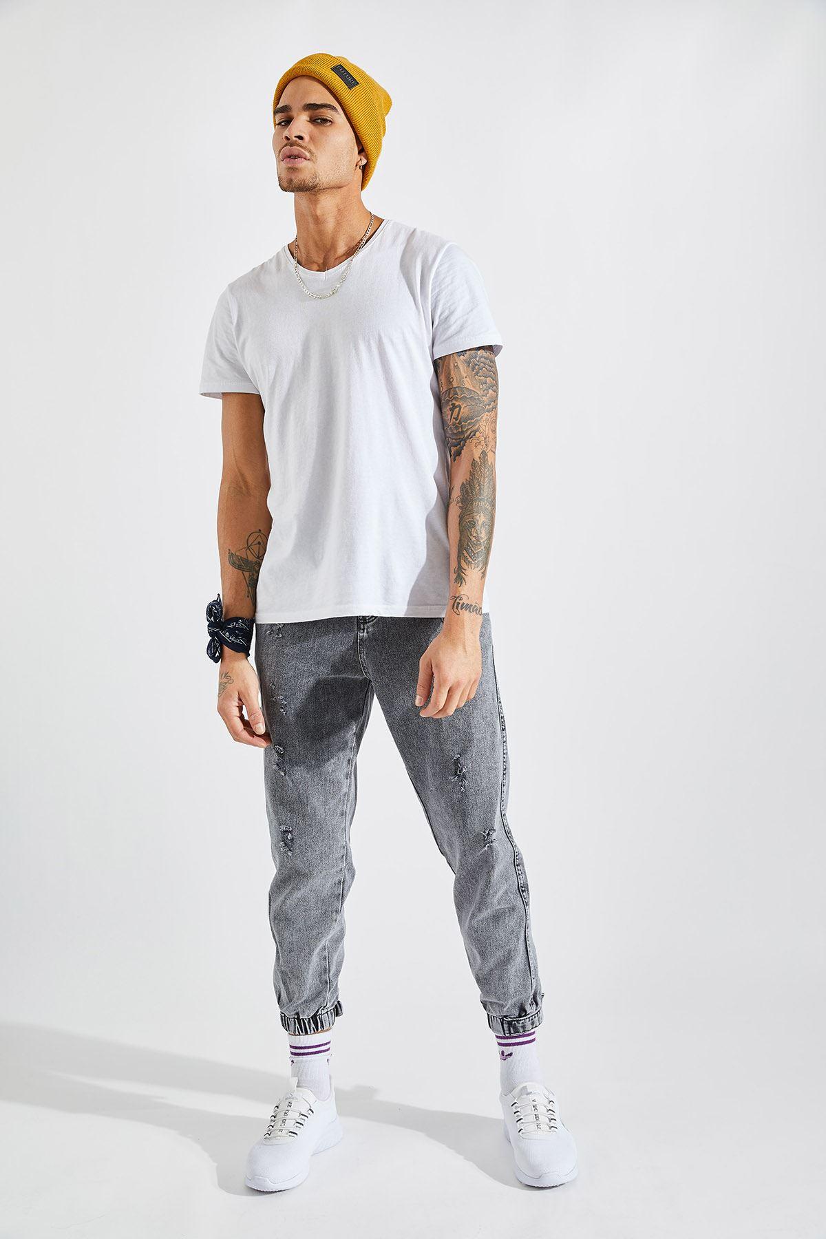Erkek Paça Lastikli Lazer Tırnaklı Gri Kot Pantolon