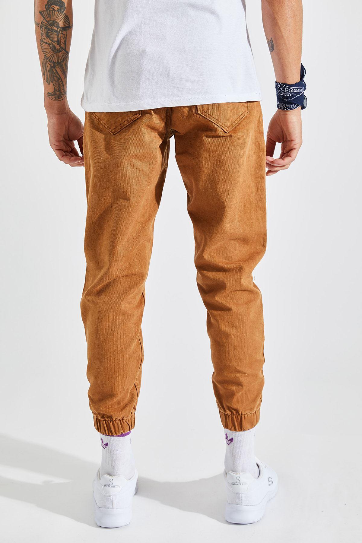 Erkek Paça Lastikli Kahverengi Kot Pantolon