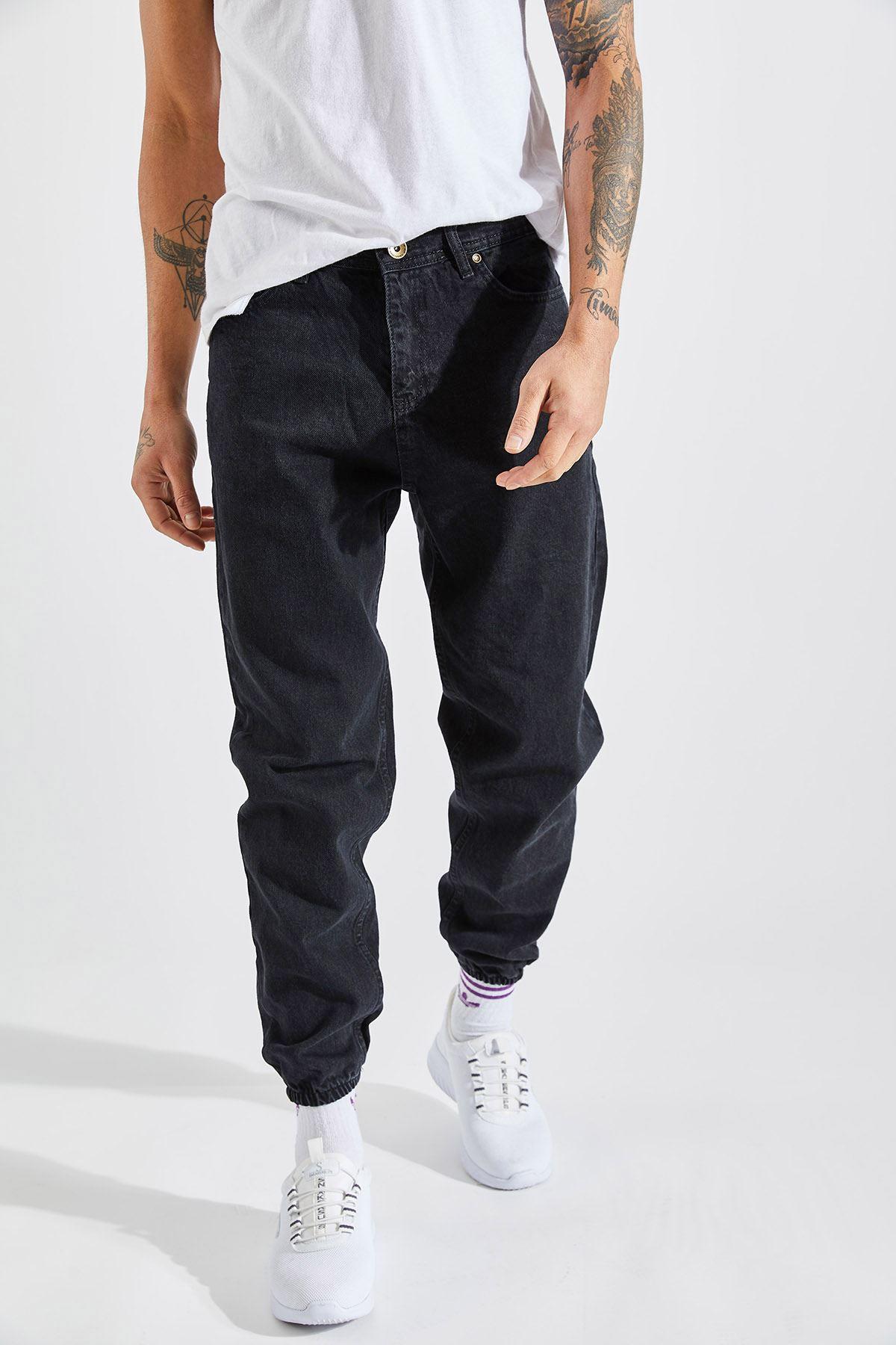 Erkek Boyfriend Paça Lastikli Siyah Kot Pantolon