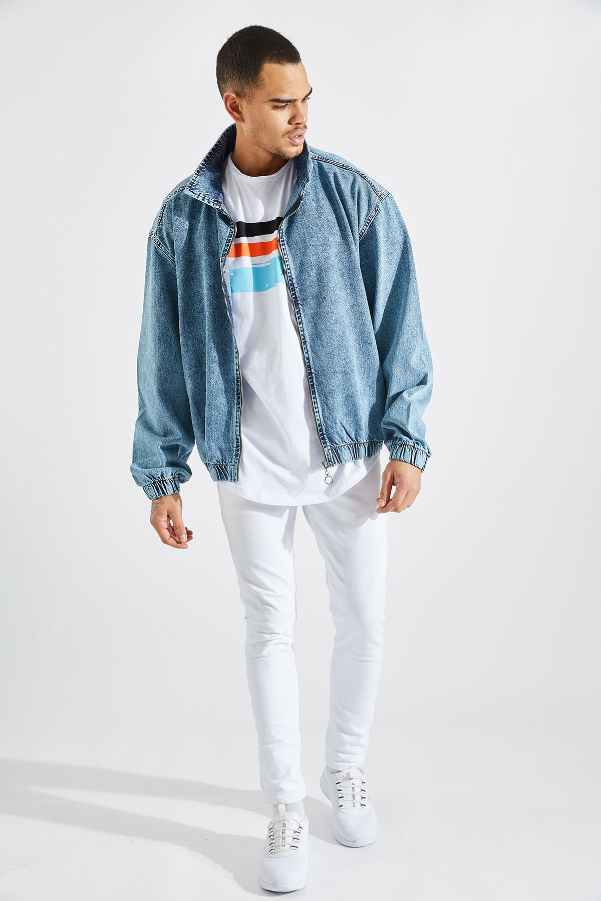 Erkek Oversize Açık Mavi Kot Mont