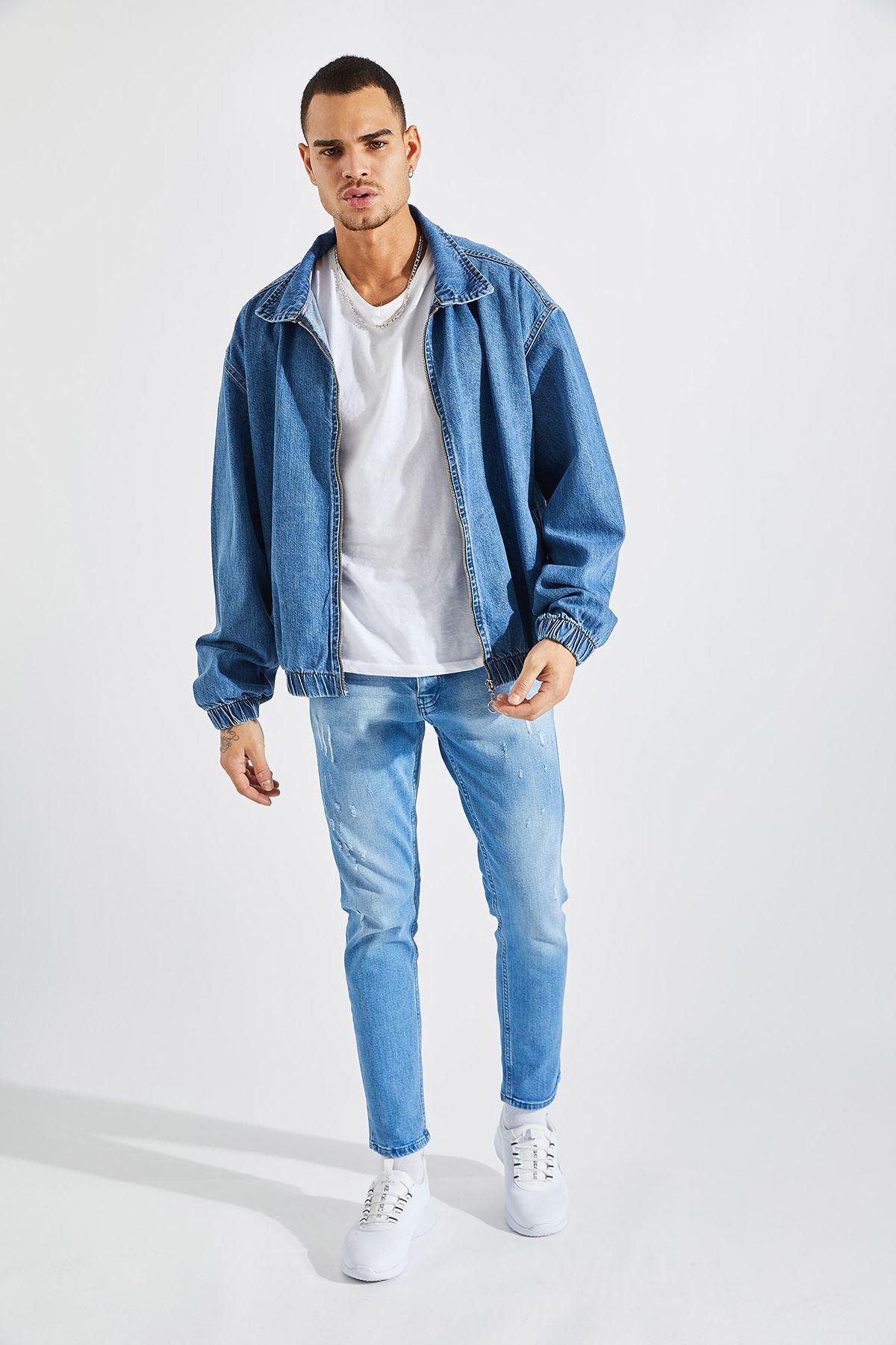 Erkek Oversize Mavi Kot Mont