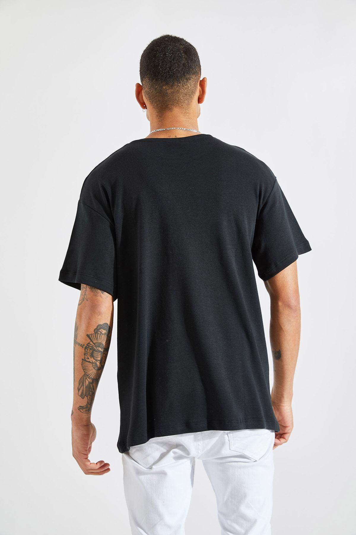 Erkek Favrd Baskılı Oversize Siyah Tişört