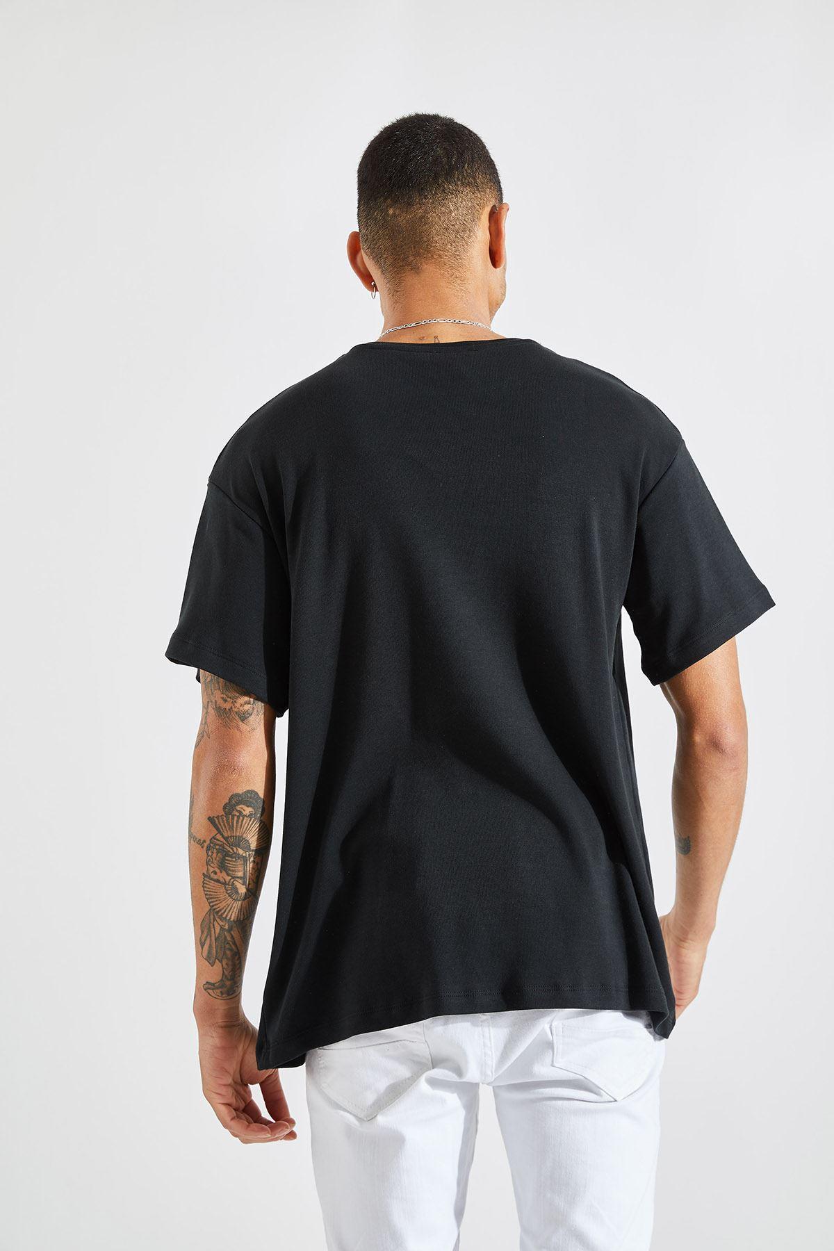 Erkek Oversize Siyah Tişört