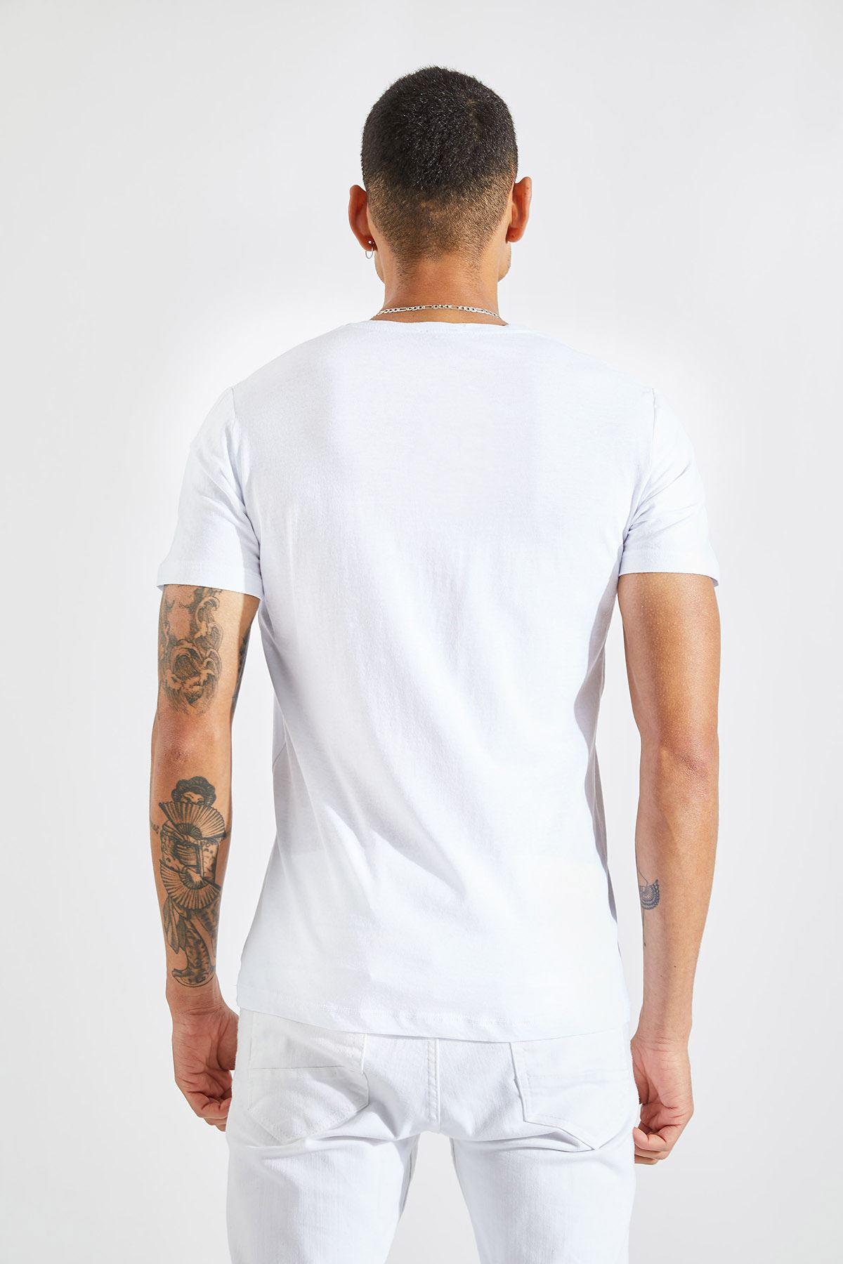 Erkek 11 Baskılı Beyaz Tişört