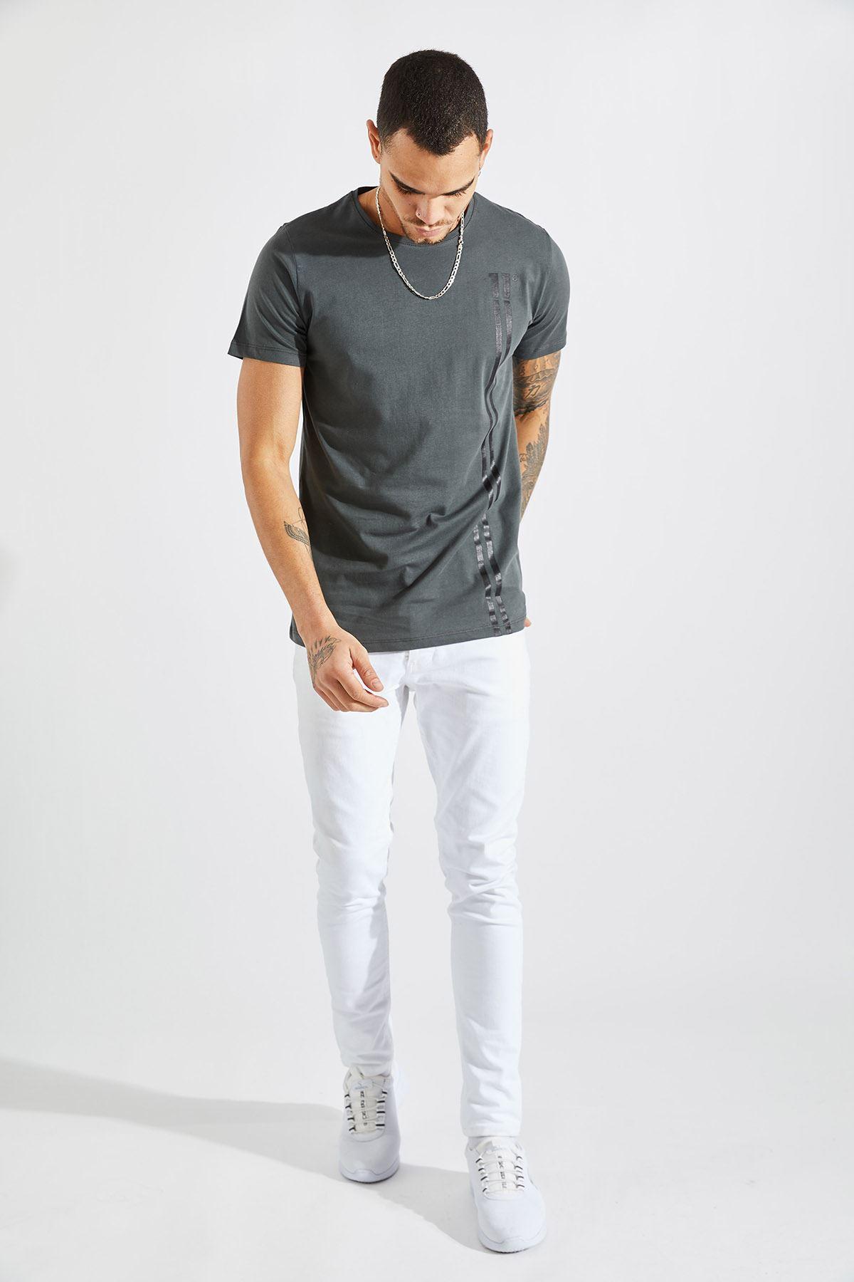 Erkek 11 Baskılı Füme Tişört