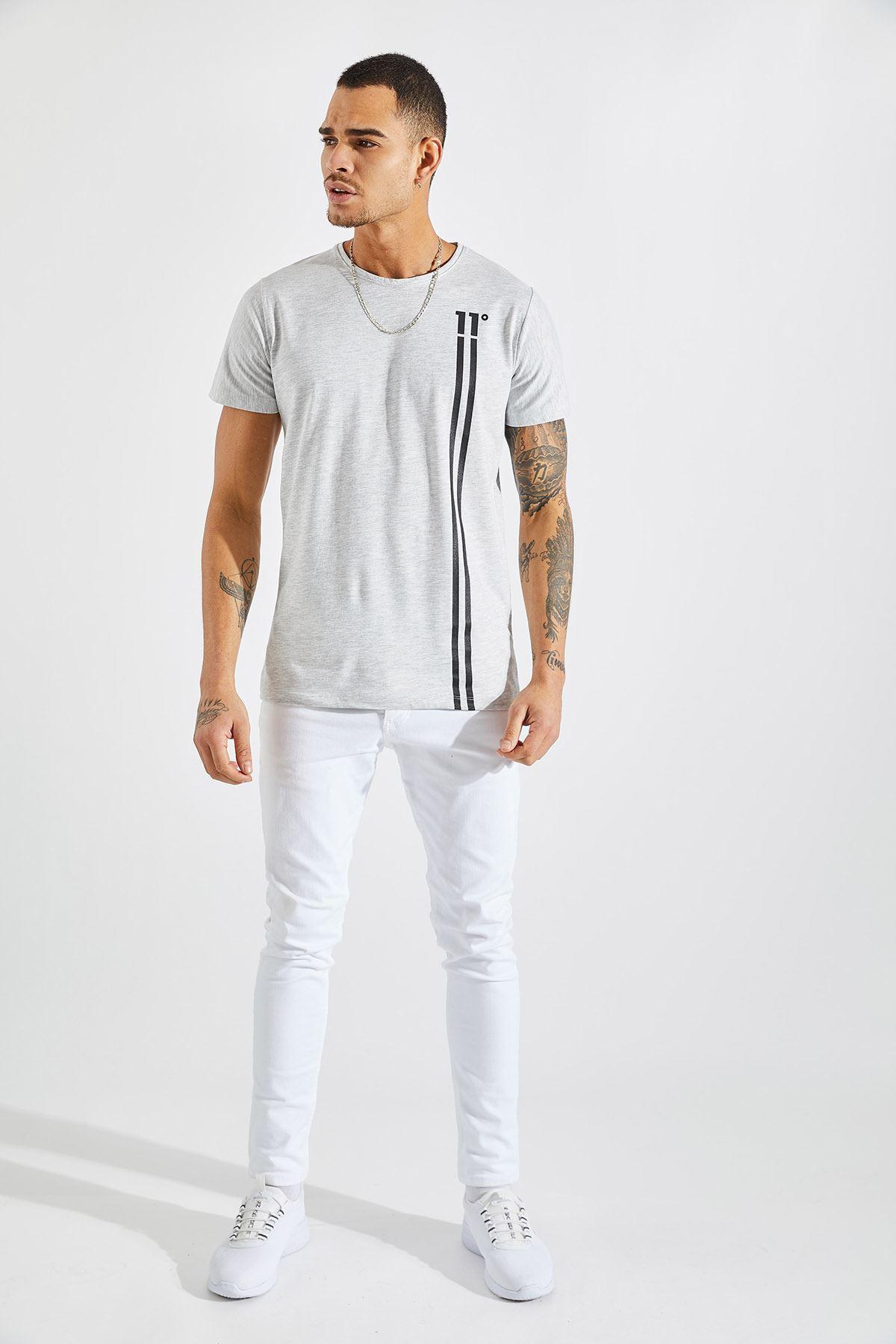 Erkek 11 Baskılı Gri Tişört