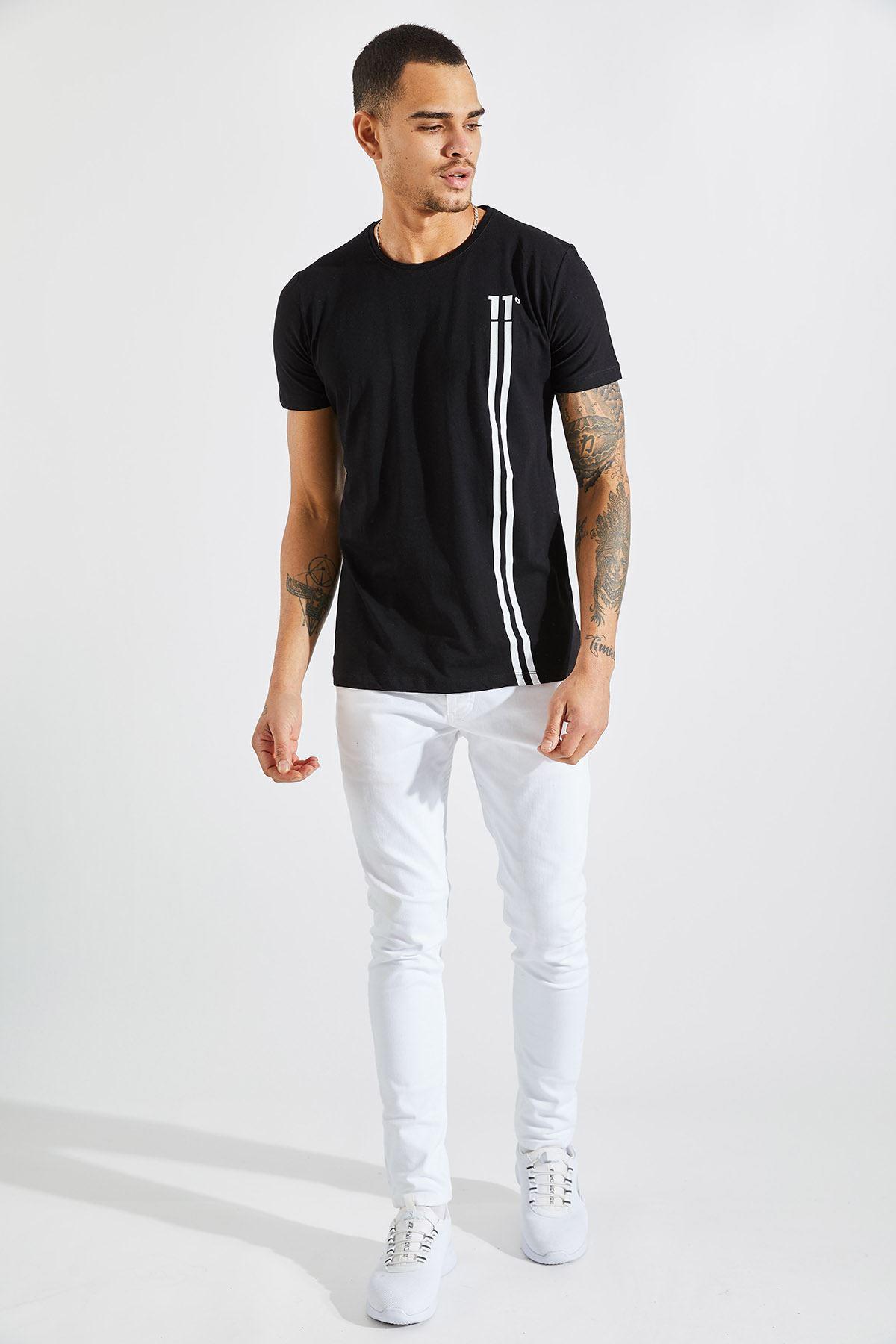 Erkek 11 Baskılı Siyah Tişört