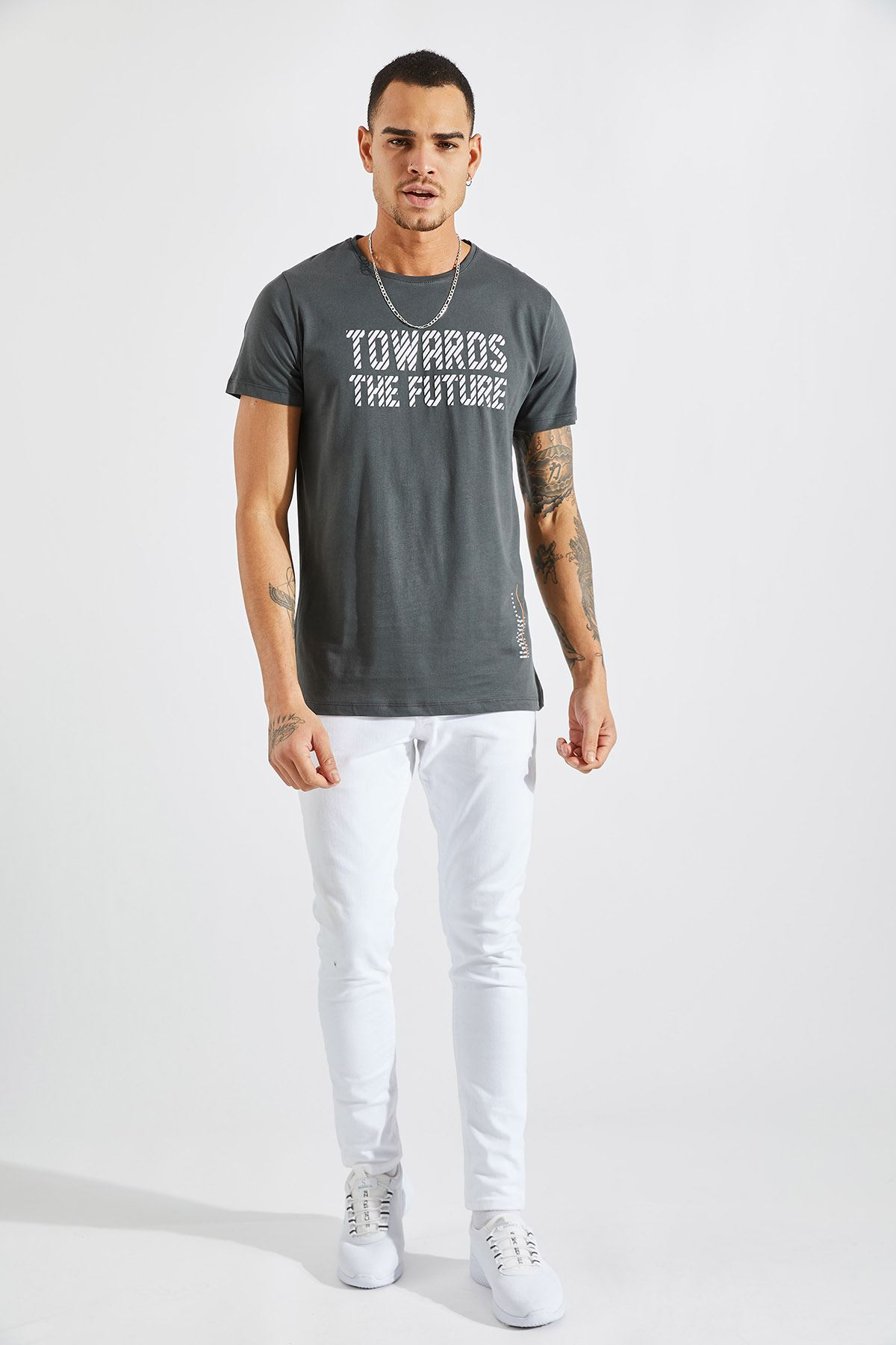 Erkek Towards Baskılı Füme Tişört