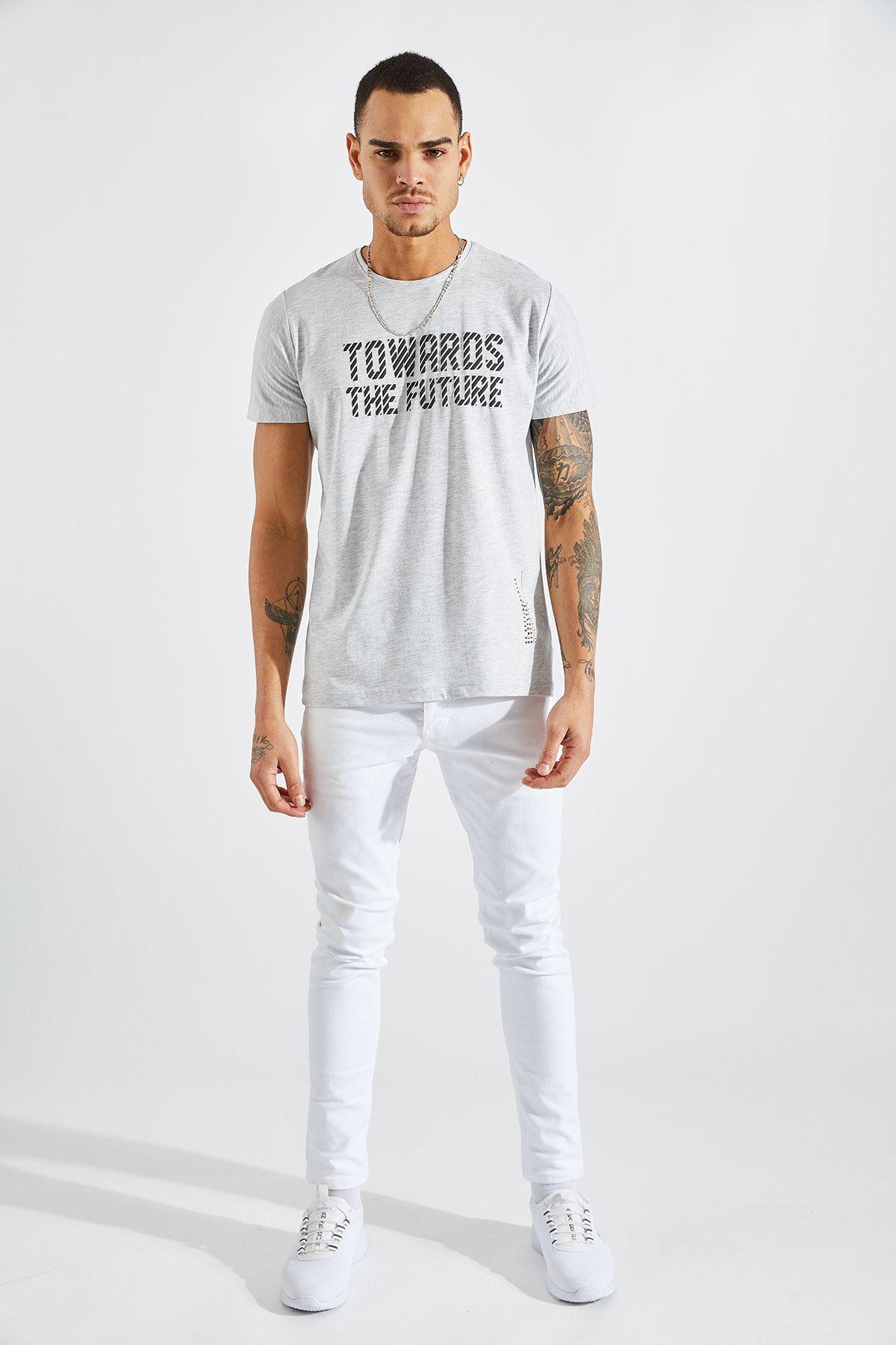 Erkek Towards Baskılı Gri Tişört