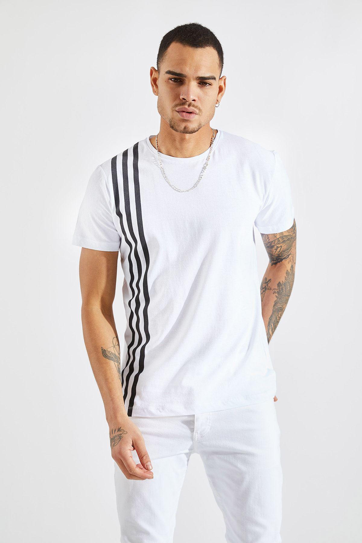 Erkek Üç Çizgi Baskılı Beyaz Tişört