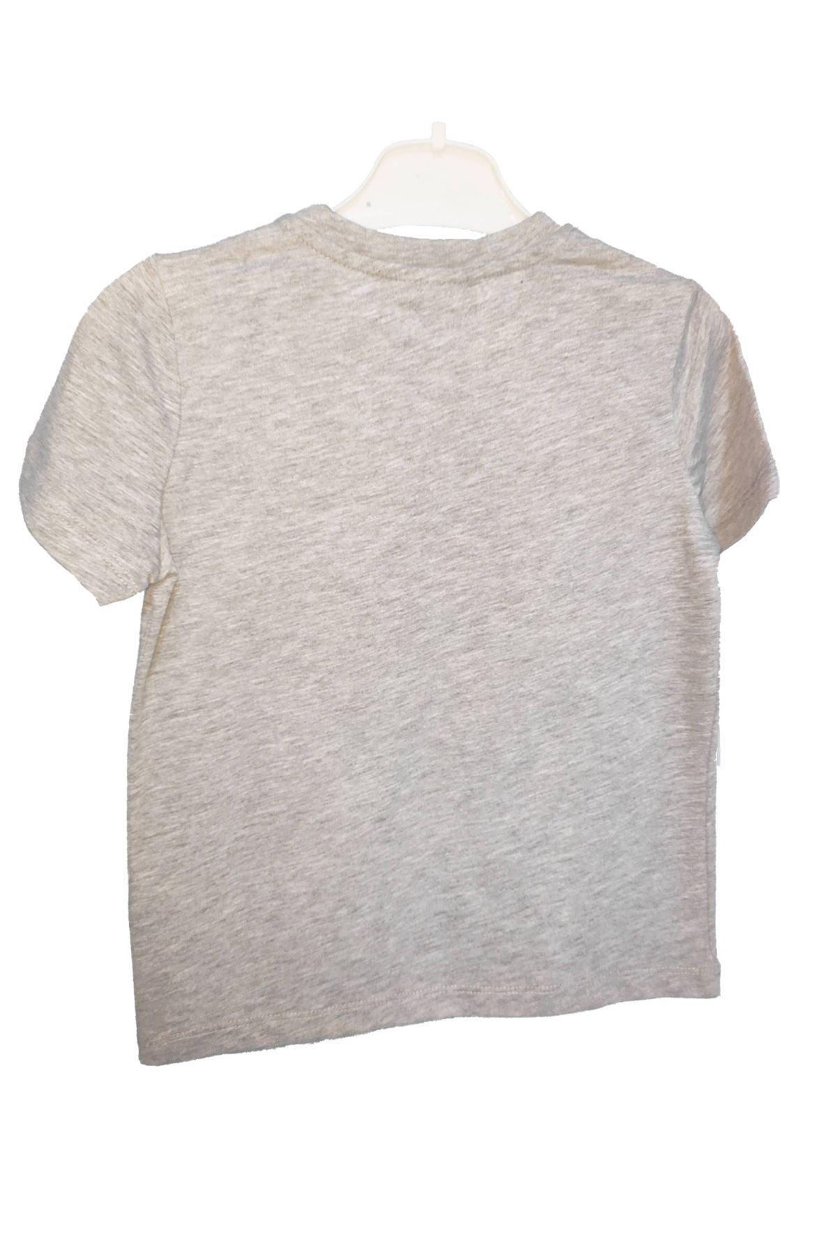 Erkek Çocuk Baskılı Gri Tişört