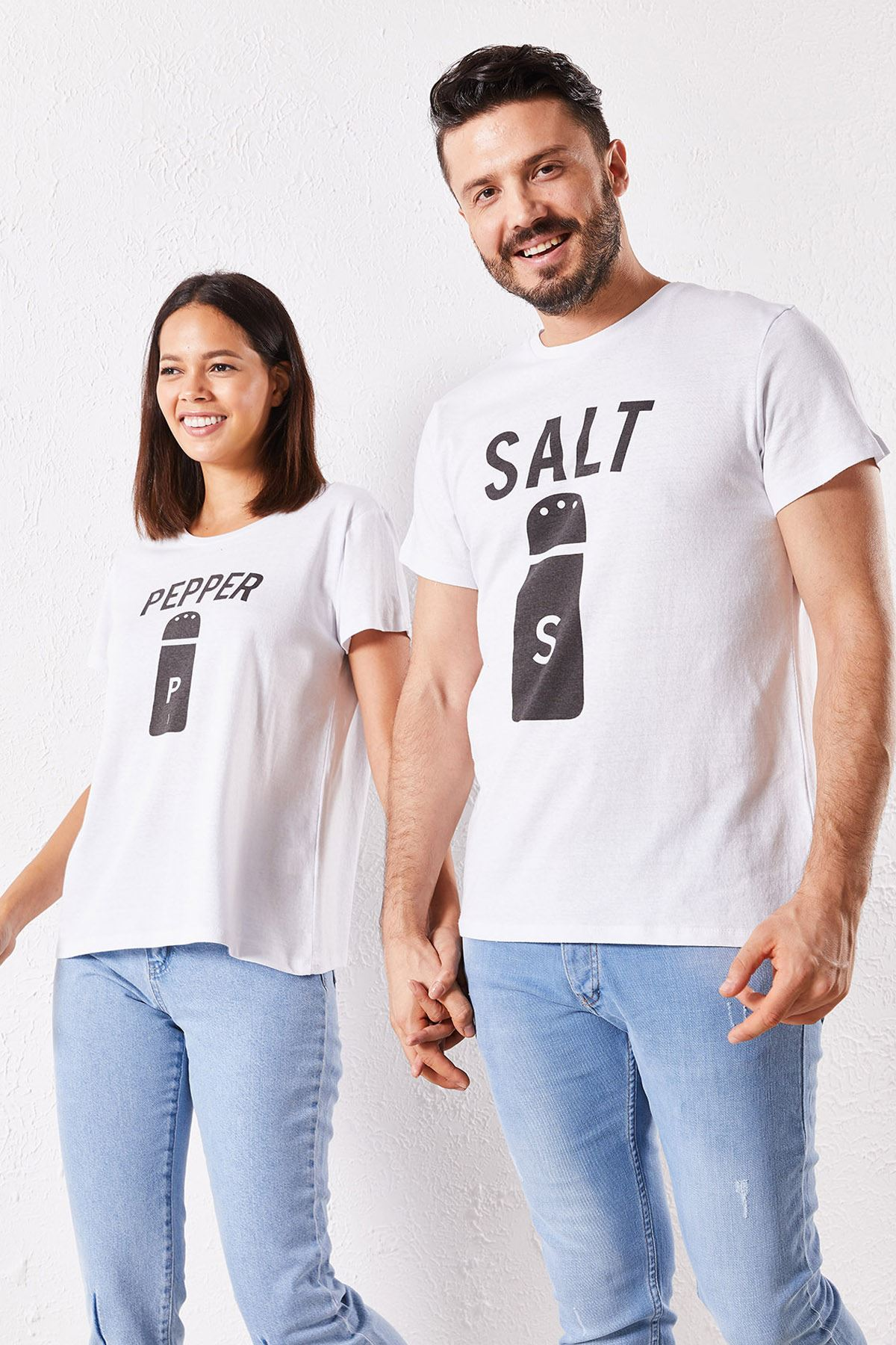 Eşli Salt Baskılı Beyaz Tişört