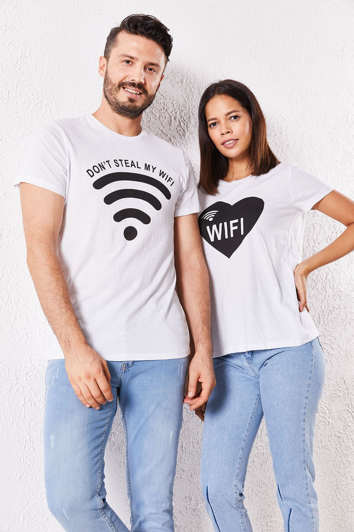 Eşli Wifi Baskılı Beyaz Tişört