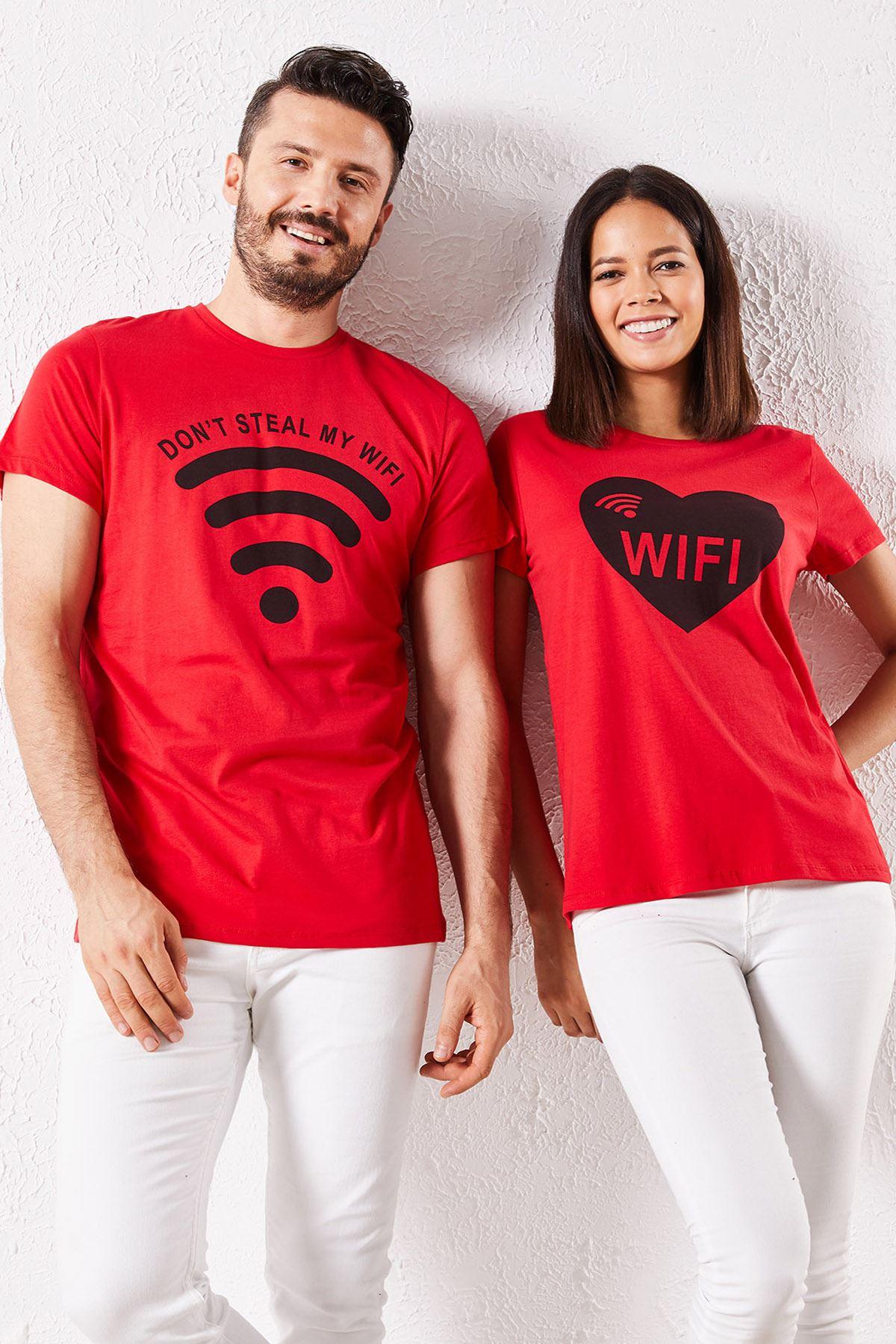Eşli Wifi Baskılı Kırmızı Tişört