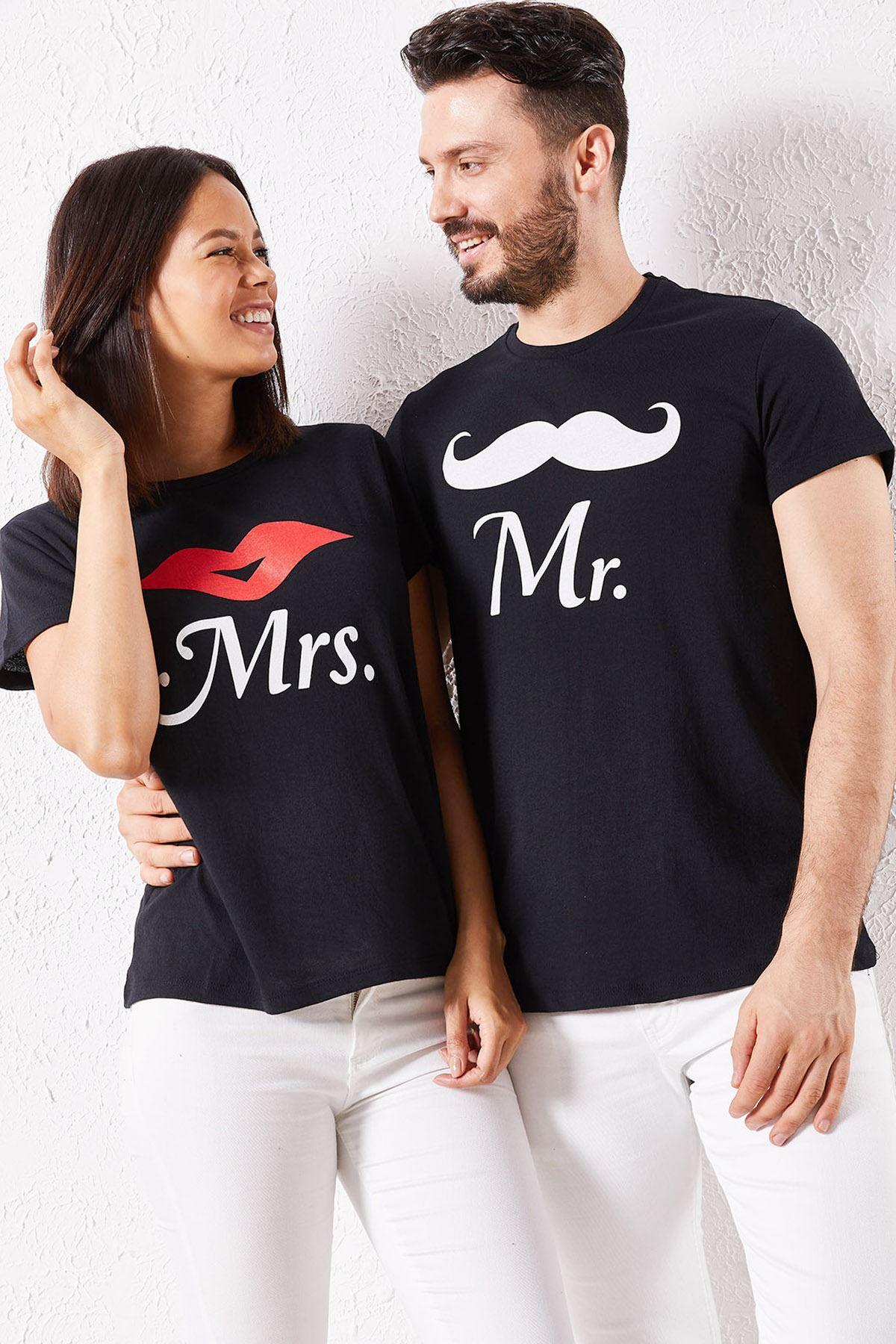 Eşli Mr Rigbt Baskılı Siyah Tişört