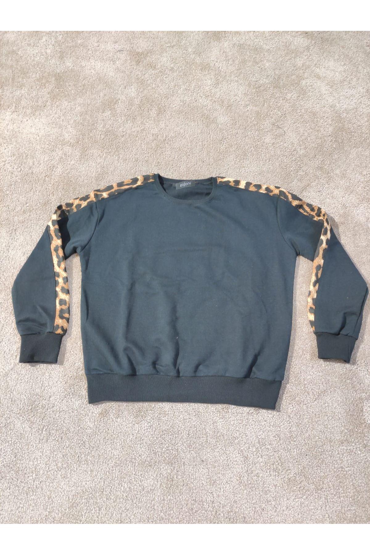 Kadın Kolu Leopar Şeritli Siyah Sweat