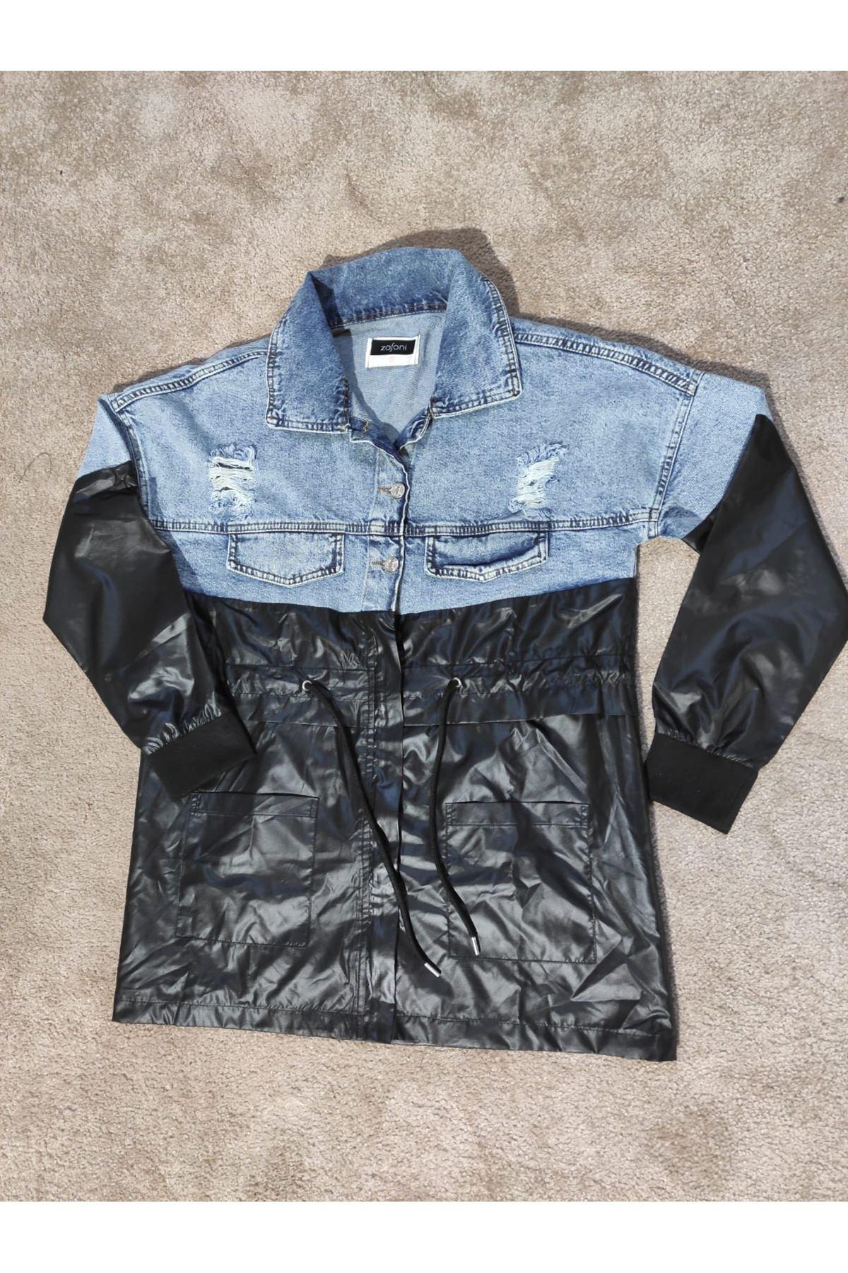 Kadın Siyah Parçalı Kot ceket
