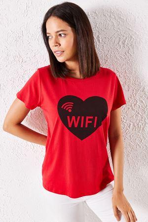 Kadın Eşli Wifi Baskılı Kırmızı Tişört