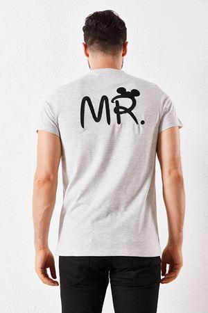 Erkek Eşli Mr. Baskılı Gri Tişört