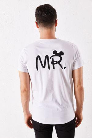 Erkek Eşli Mr. Baskılı Beyaz Tişört